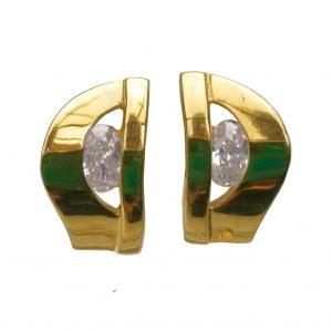 Arracades plata daurada amb circonites
