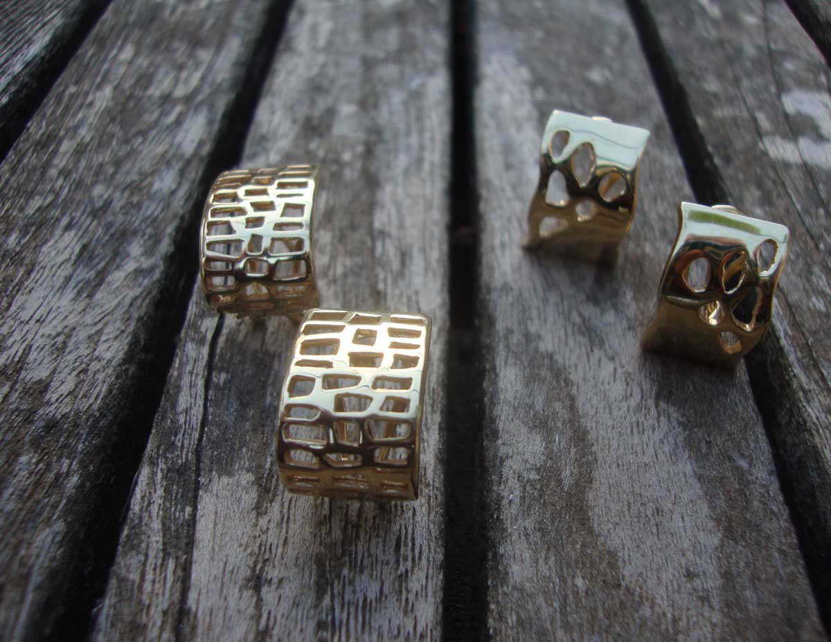 Arracades en plata daurada