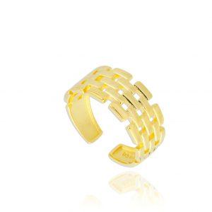 anell plata daurada